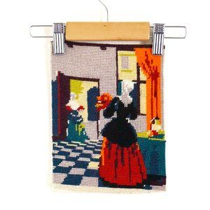 Vintage Needlepoint Victorian Scene / Embroidery